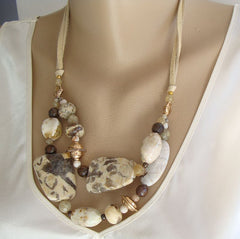Barse 2-Strand Jasper Necklace Earthtone Gemstone Jewelry