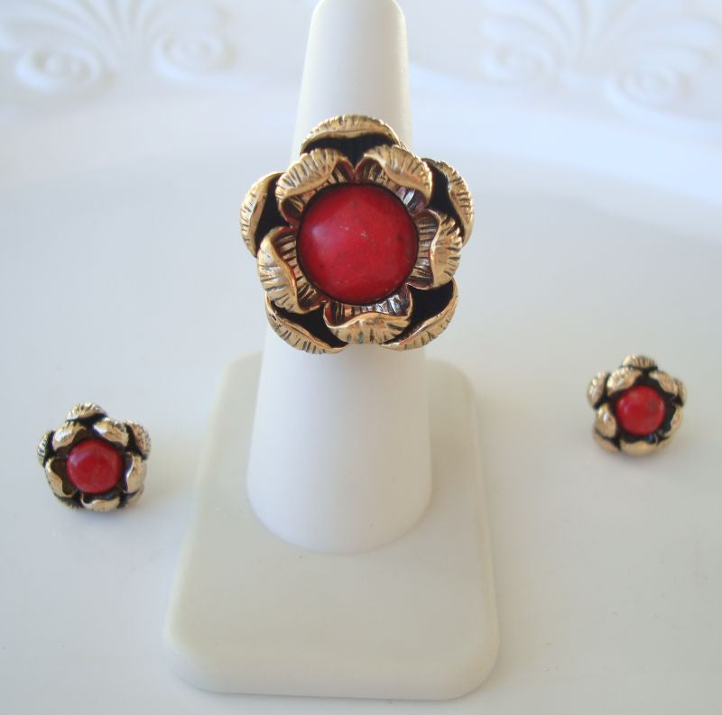 Barse Red Howlite Ring Size 6 Earrings Set Floral Designer Jewelry