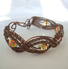 Copper Wire Wrapped Bracelet Iridescent Beads Handcrafted Jewelry