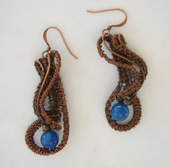 Copper Wire Wrapped Dangle Earrings Blue Stone Artisan Jewelry
