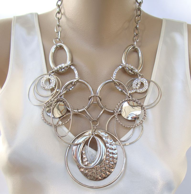 Bold Statement Bib Necklace Hoops Galore Matching Earrings Set