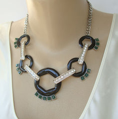 Banana Republic Statement Necklace Rhinestones Black Green Jewelry