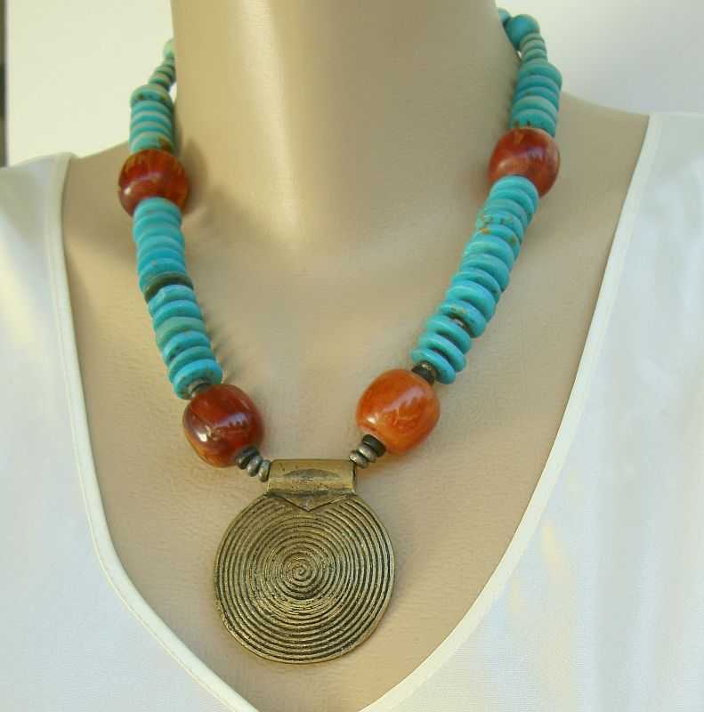 Mod Brass Necklace Dyed Turquoise Brown Beads Vintage Jewelry