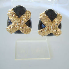 St John Knits Golden Nugget X-Shaped Clip On Earrings Designer Jewelry