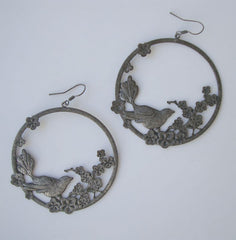 Huge Hoop Earrings Birds Flowers Vintage Pewter Figural Jewelry