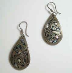 Taxco Abstract Abalone Sterling Silver Drop Earrings Vintage Mexican Jewelry