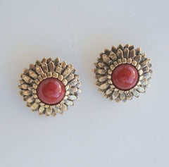 1928 Company Clip On Earrings Red Cabochons Multi-Layer Antiqued Floral Jewelry