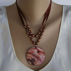 Reddish Brown MOP Abalone Pendant Necklace Brown Ribbons Pearls  Gemstone Jewelry