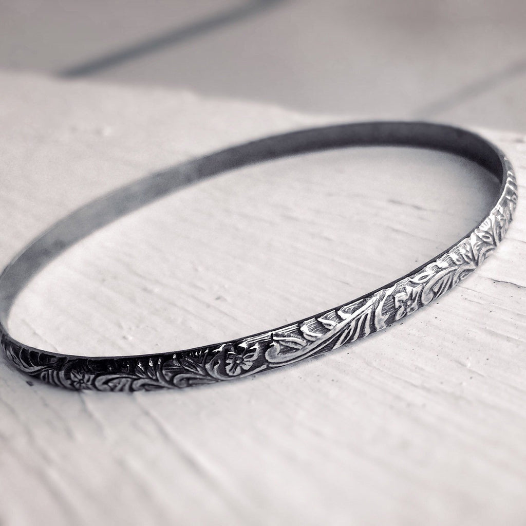 Floral Bangle, Bangle Bracelet, Thick Bangle, Floral Jewelry, Boho Chic, Gypsy, Stacking Bangle, Floral, Minimalist, Vintage Inspired