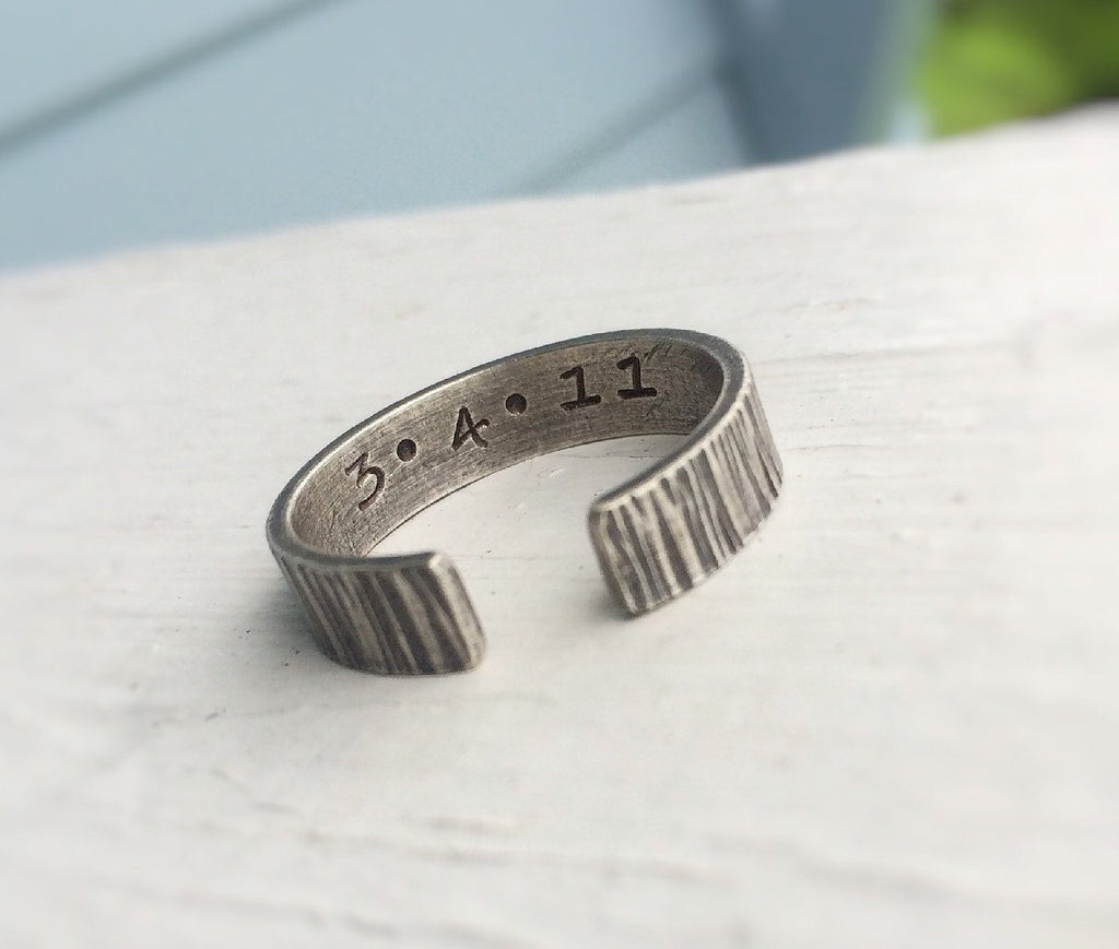 Open Textured Ring,Anniversary Ring,Secret Message Ring,Modern Ring,Open Ring,Modern Minimalist Ring,Men's Ring,Personalized Rings,For Him