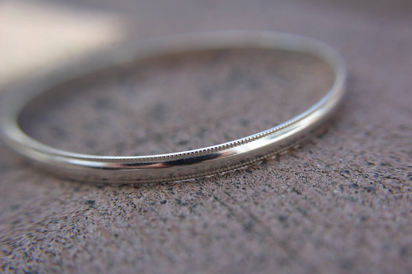 Silver Bangle Bracelet, Simple Bangle Bracelet, Bangle Bracelet, Millgrain Bangle, Textured Jewelry, Boho Jewelry, Modern Bracelet, Gift