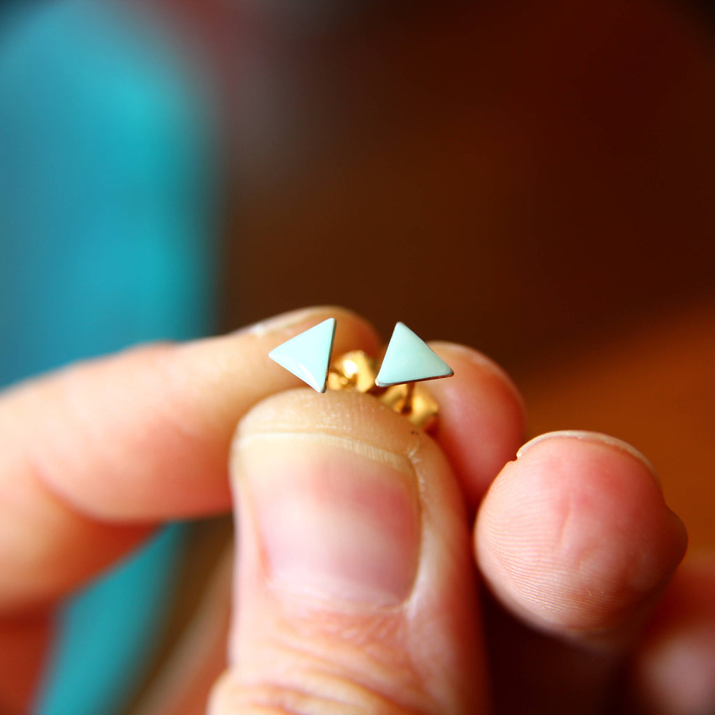 Triangle Earrings, Tiny Triangle Earrings, Gold Triangle Earrings, Turquoise Earrings, Enamel Triangle Earrings, Geometric Studs, Boho Chic