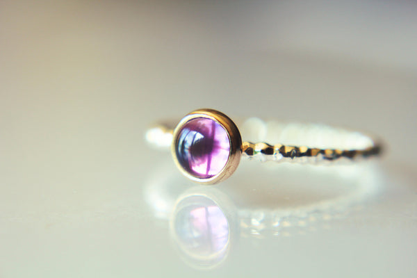 Amethyst Ring, Stacking Ring, Gemstone Ring, Cocktail Ring, Amethyst, Amethyst Engagement Ring, Amethyst Jewelry, Gold And Silver, Purple