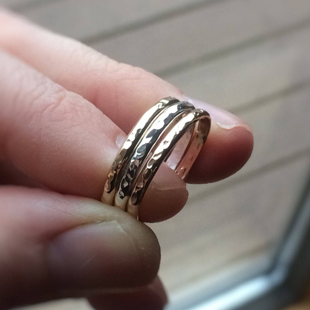 Simple Stacking Set,Mixed Metals Ring Set,Textured Rings,Slim Ring,Boho Ring Set,Stacking Rings,Boho Chic,Goldfilled and Sterling,Thumb Ring