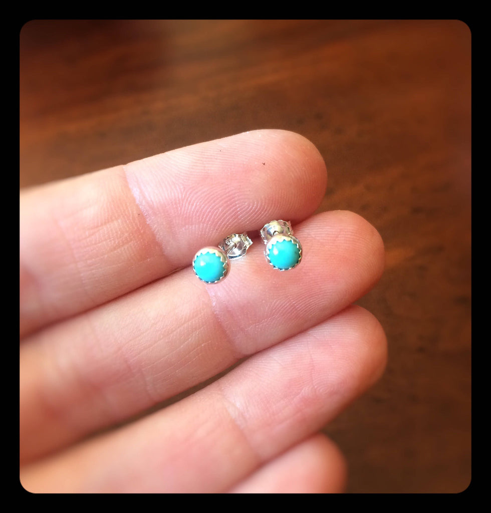 Turquoise Earrings, Turquoise Jewelry, Everyday Earrings, Turquoise Post Earring, Turquoise Stone, Simple