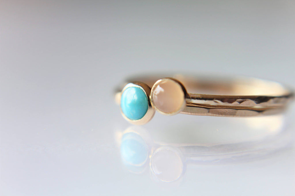Turquoise Stacking Ring Set, Turquoise  Ring, Natural Gemstone Ring, Turquoise, Turquoise Jewelry, Peach Moonstone Ring, Gold Rings, Gift