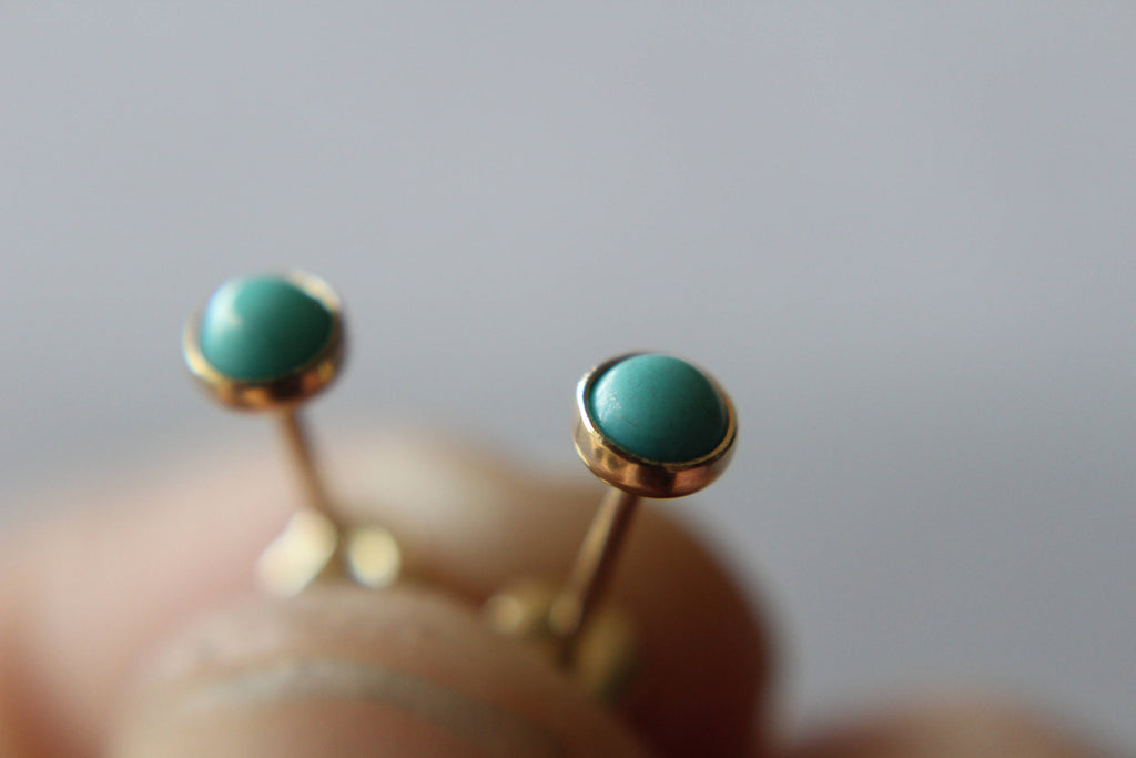 Turquoise Earrings, Solid Gold Studs, 14kt Gold Stud Earrings, Turquoise Studs, Gold Earrings, Earrings, Gold Studs, Gemstone Earrings, Gift
