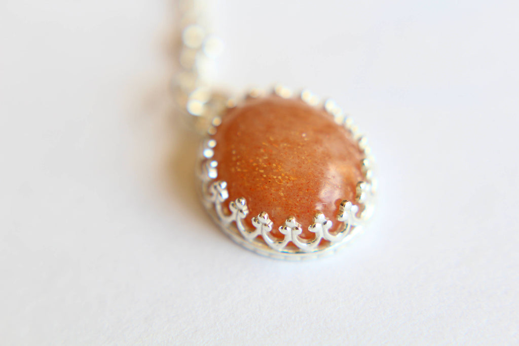 Sunstone Necklace, Victorian Necklace, Necklace, Stone Pendant, Speckled Sunstone Pendant Necklace, Boho Necklace, Layer Necklace, Gift