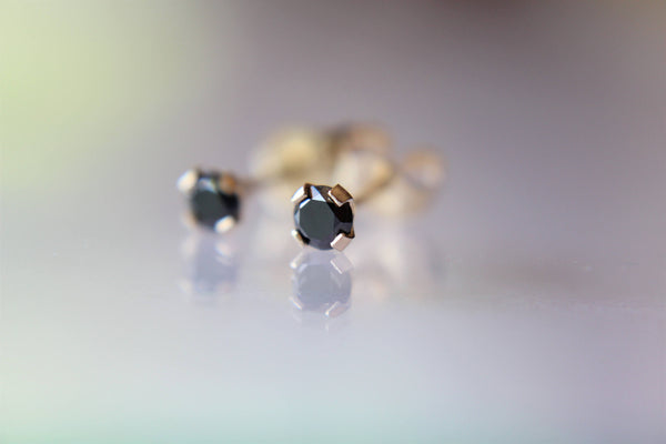 Genuine BLACK DIAMOND Earring Studs, Post 14k Solid Gold, Lobe Cartilage Helix Tragus, Tiny Black Diamond Earrings, Gift, Black Gemstone