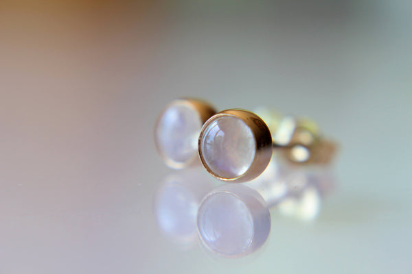 Rainbow Moonstone Earrings, Stud Earrings, Solid Gold Earrings, Lux Moonstone Earrings, Gemstone Earrings, 5mm Moonstone Earrings, Rainbow