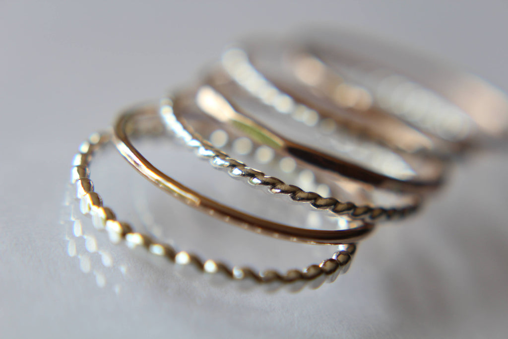 Silver and Rose Gold Stacking Set,6 Ring Set,Stacking Rings,Set,Multi Texture Ring Set,Textured Rings,Stacking Rings Set,Gold Rings,Gift