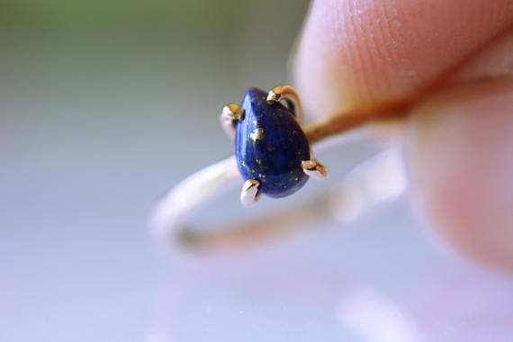 Lapis Ring, Solid Gold Ring, Gold Lapis Ring, Solid Gold Stacking Ring, Engagement Ring, Eco Friendly Recycled, Lapis Lazuli Ring, Genuine