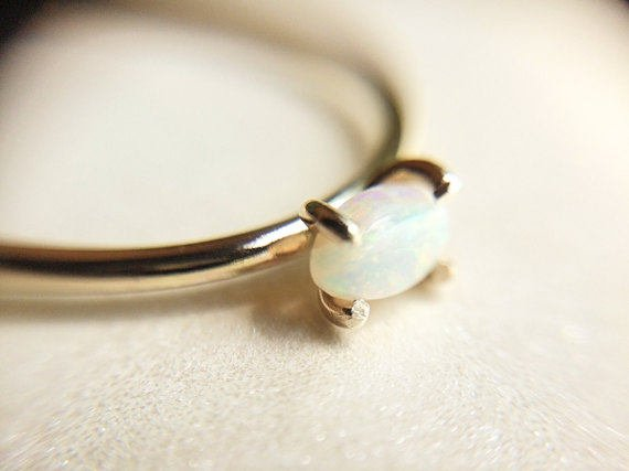 Opal Ring, Birthstone, October, Solid Gold Stacking Ring, Engagement Ring, Eco Friendly Recycled, Oval Opal Ring, Solid Gold Opal Ring