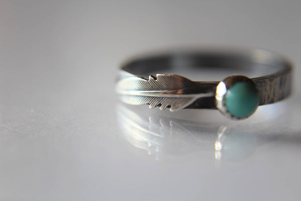 Turquoise Feather Ring, Feather Ring, Turquoise and Silver, Turquoise Ring, Sterling Silver Ring, Feather and Turquoise, Customizable, Gift