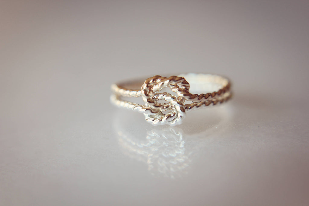Double Rope Knot Ring, Knot Rings, Minimalist Love Rings, Tie the Knot Rings, Slim Stacking Rings, Sterling Rings, Rings, Anniversary Rings