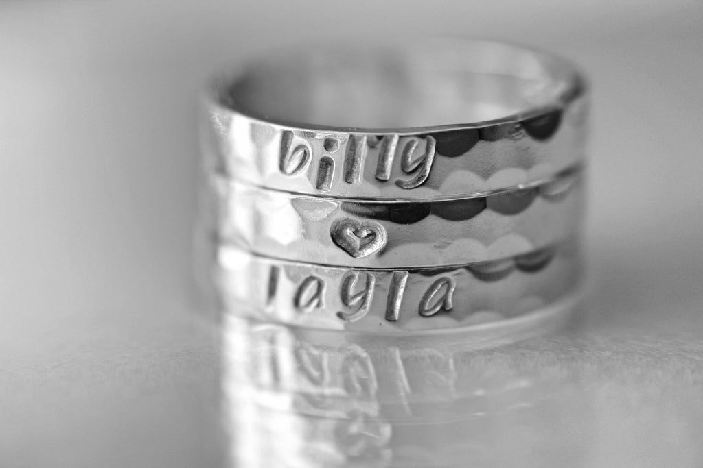 Hand Stamped Sterling Silver Stackable Rings, Personalized Rings, Customized Rings, Mothers Ring, Kids Names, Cute Rings, Stackable, Gift