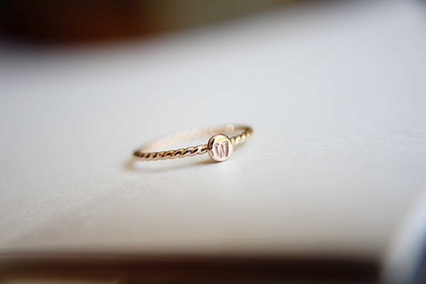 Initial Ring, Personalized Ring, Minimalist Ring, Initial Ring, Rope Stacking Ring, Gold Ring, Ring, Couples Rings, Gift, Letter Ring
