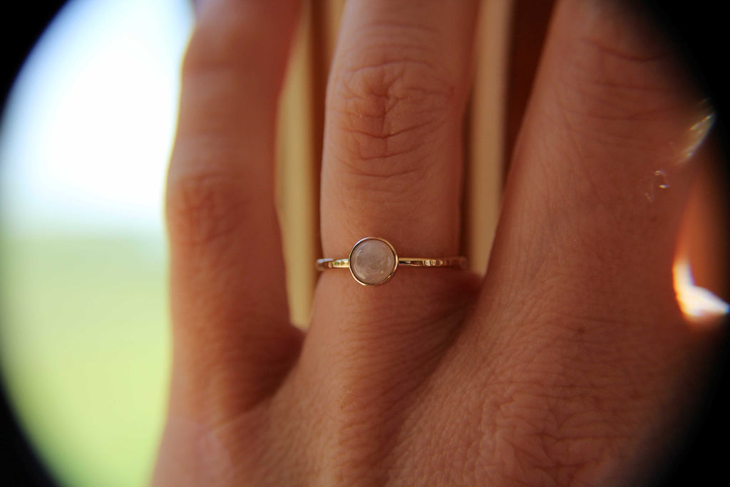 Moonstone Stacking Ring, Moonstone Ring, Engagement Ring, June Birthstone, Rainbow Moonstone, Gemstone Stacking Ring, Gold, Moonstone, Gift