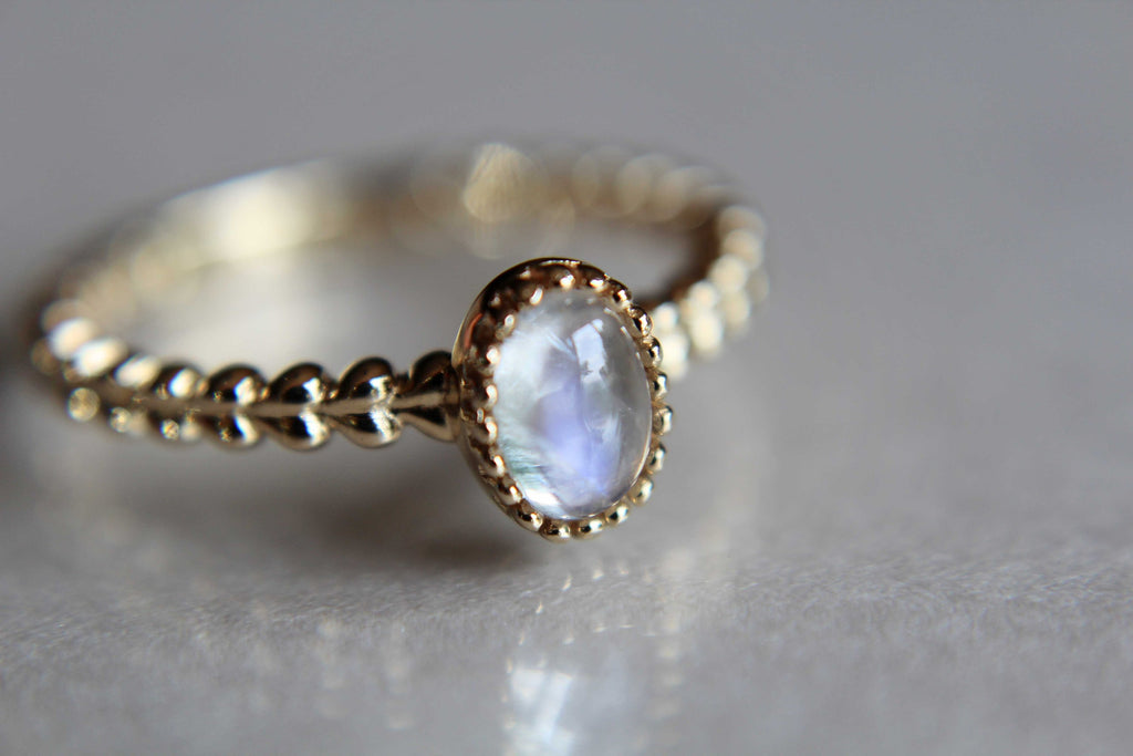 Rainbow Moonstone Ring, Beaded Ring, Unique Design, Beaded Ring, Gold Moonstone Ring, Moonstone Stacking Ring, Gold Ring, FMJ