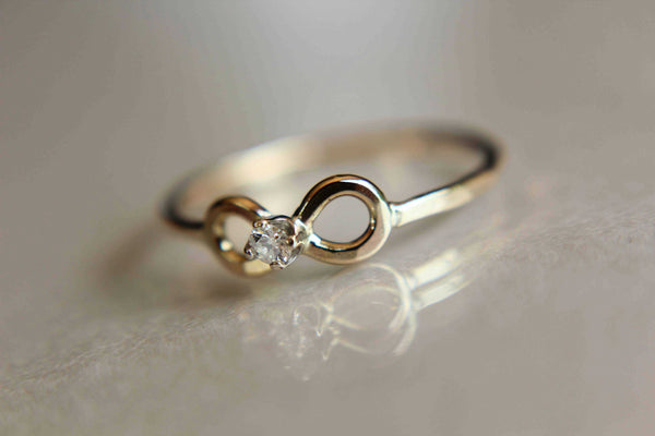 Diamond Infinity Ring, Dainty Forever Ring, Stacking Ring, Inifinity Ring, Open Infinity Ring, Eternity Ring, Artsy Infinity Ring, Gift