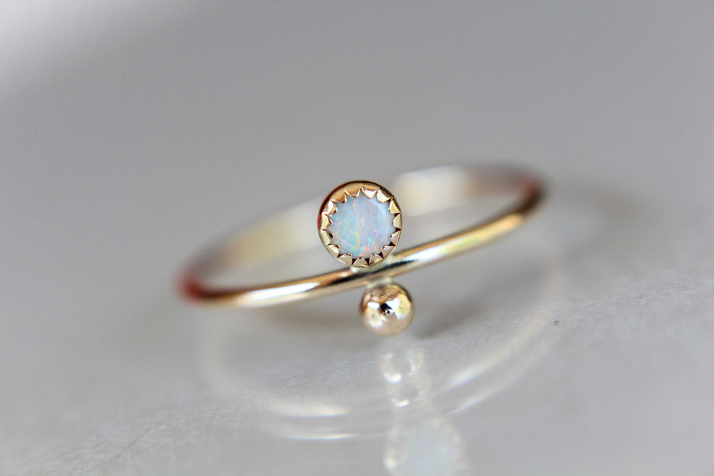 Opal Stacking Ring, Slim Ring, Stacking Gemstone Ring, Opal Rings, Unique Rings, Wisper Gemstone Rings, Gift, White Opal, Genuine, Gift