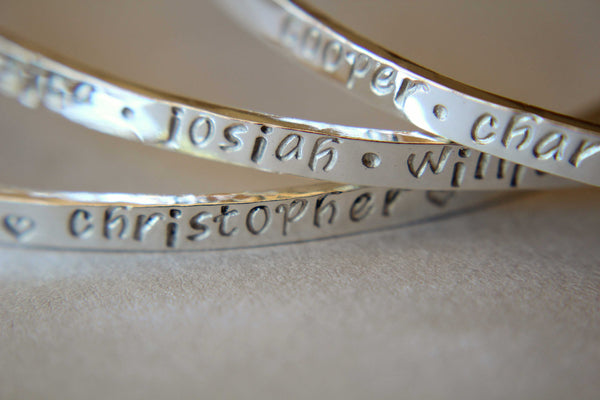 Personalized Sterling Silver Name Bracelet, Hand Stamped Mothers Bangle Bracelet, Birthday Gift for Mom, Gift for Mom, Mothers Day Gift