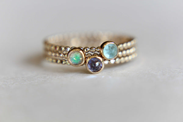Gold Beaded Ring, Gold Stacking Ring, Unique Design, Beaded Ring, Gold Gemstone Ring, Faceted Opal Ring, Tanzanite, Apatite, Beaded Ring