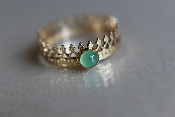 Crown Ring, Wedding Band, Engagement Ring, Princess Ring, Promise Ring, Simple Gift, Chrysoprase Crown Ring, Genuine Gemstone, Gift
