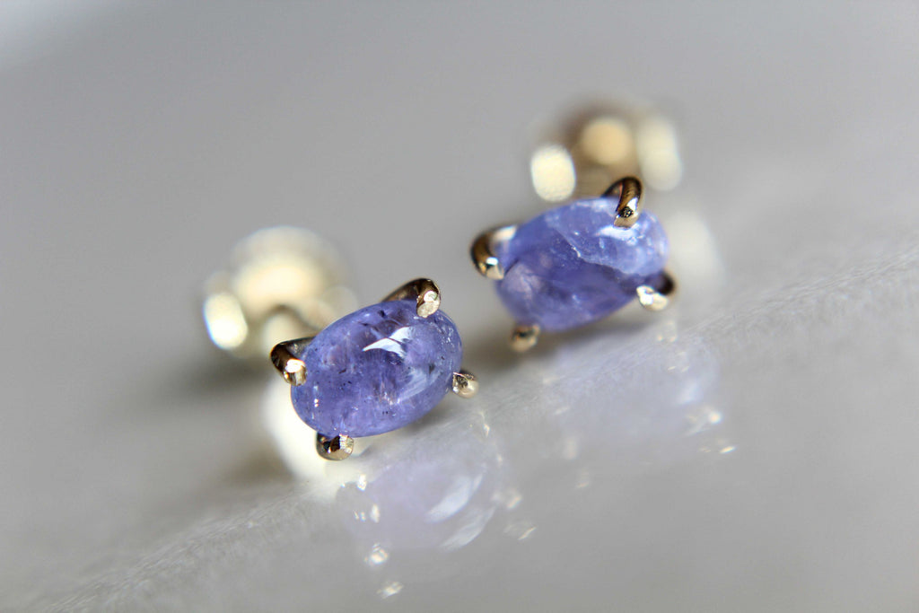Tanzanite Earrings, Gemstone Earrings, Gold Earrings, Post Earrings, Tanzanite Post Earrings, Small Earrings, Minimalist Earrings, Lux, Gift