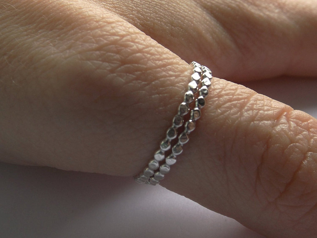 Hammered Flat Bead Moden Design Thumb Ring Set, Sterling Drop Bead Thumb Ring, Stacking Ring,Modern Boho ring,Textured Drop Ring