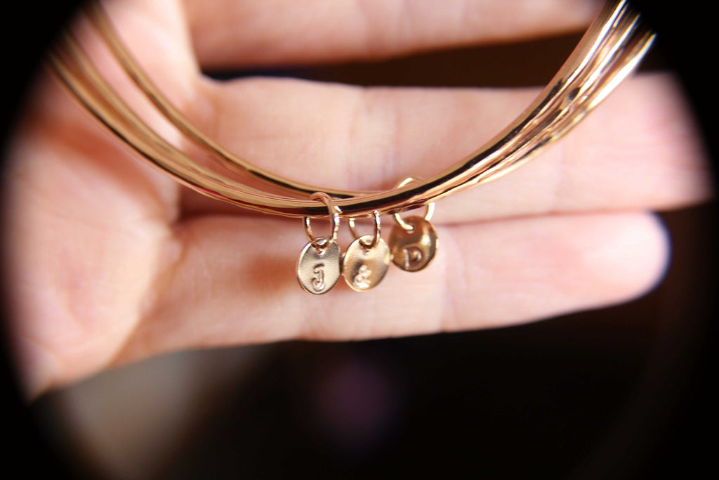 Personalized Bangle, Custom initial charm bracelet, Rose Gold bangle, Textured initial bangles, Bridesmaids gift, Stacking Bangle, Gift