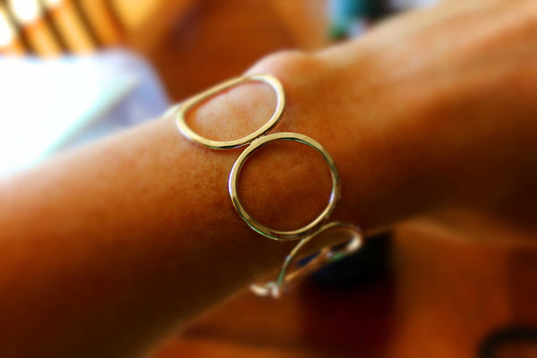 Circle Link Bracelet, Sterling Silver Hammered Circle Bracelet, Silver Circle Cuff, Silver Circle Bracelet, Circle Cuff, Everyday Jewelry