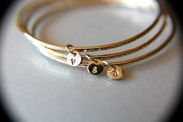 Personalized Bangle, Custom initial charm bracelet, Yellow Gold bangle, Textured initial bangles, Bridesmaids gift, Stacking Bangle, Gift