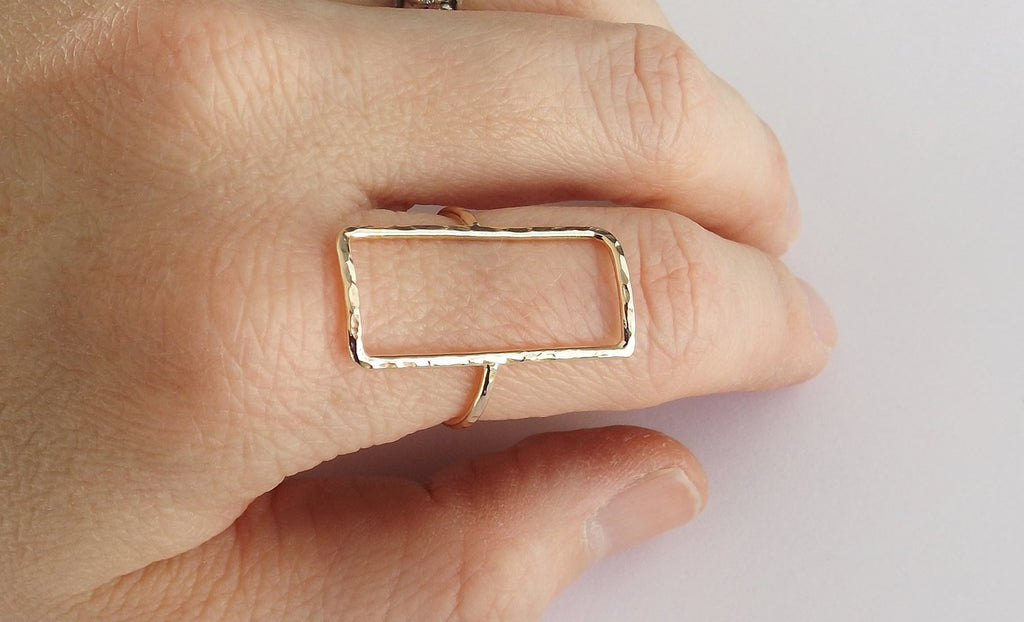Rectangle Ring, Open Rectangle Ring, Long Modern Ring, Simple Open Ring, Rose Gold Ring, Open Rectangle Jewelry, Rectangle, Geometric Ring