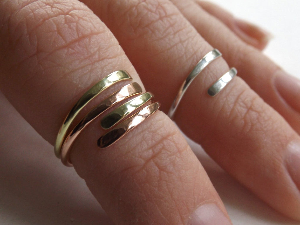 Knuckle Ring,Knuckle Rings,Stacking Rings,above knuckle ring,Tri Tone Knuckle Rings, Toe Rings, Rings,Sterling Silver Knuckle Ring