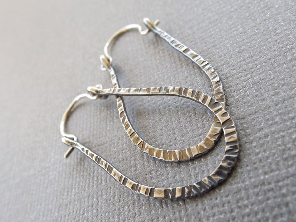 Modern Notched Hoop Earrings, Sterling Silver Earrings, Hoop Earrings, Minimalist Earrings, Dangle Earrings, Long Oxidized Hoop Earrings