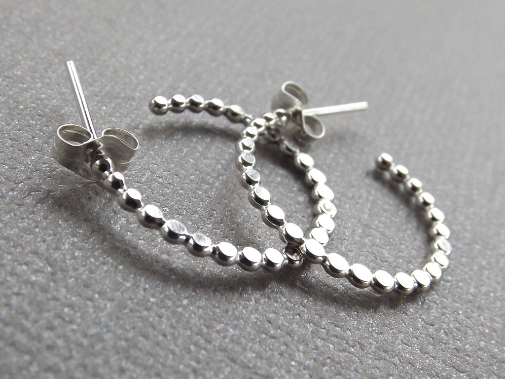 Beaded Hoop Earrings, Earrings, Sterling Earrings, Post Earrings, Hoop Earrings, Small Earrings, Minimalist Earrings, Post Earrings