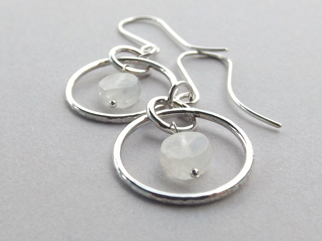 Moonstone Earrings, Long Hoop Earrings, Faceted Moonstone Earrings, Sterling Earrings, Dangle Earrings, Hammered Earrings, Hoop Earrings