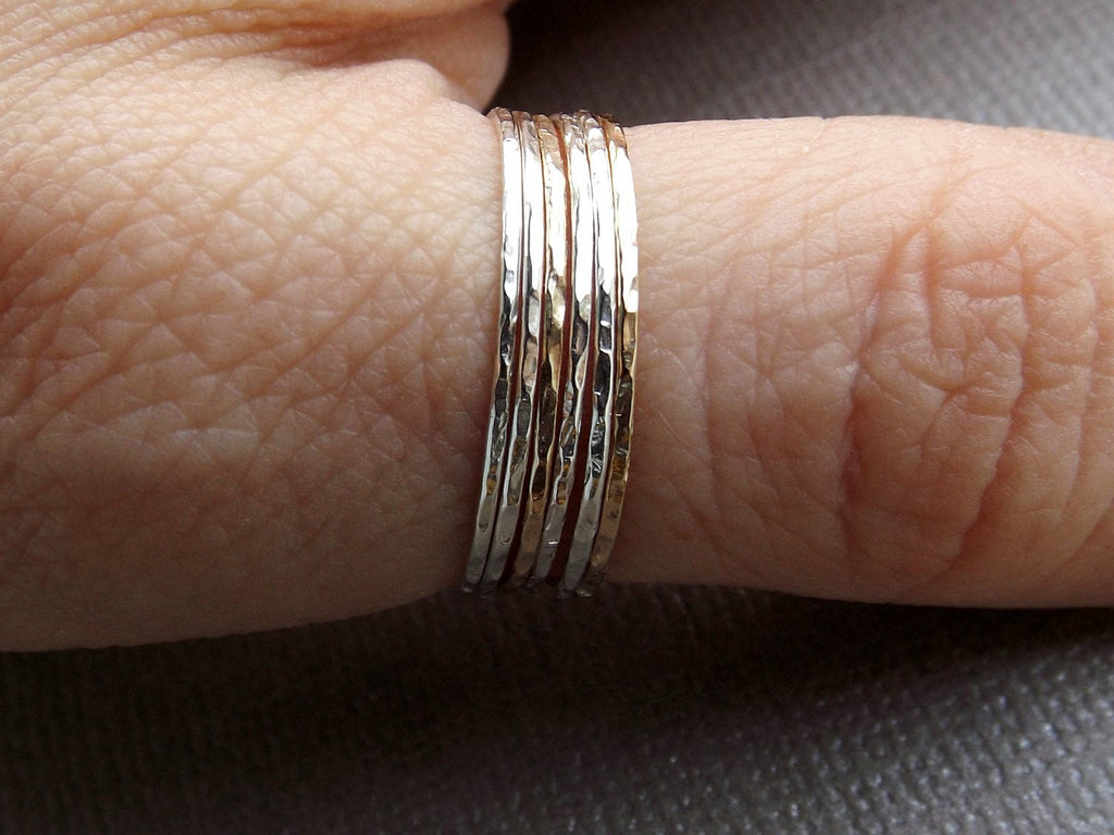 Build A Set!Super Skinny Stacking,Knuckle, or Thumb Rings,Gold Rings,Stacking Rings,Knuckle Ring,Skinny Rings,Thin Rings, Hammered Ring