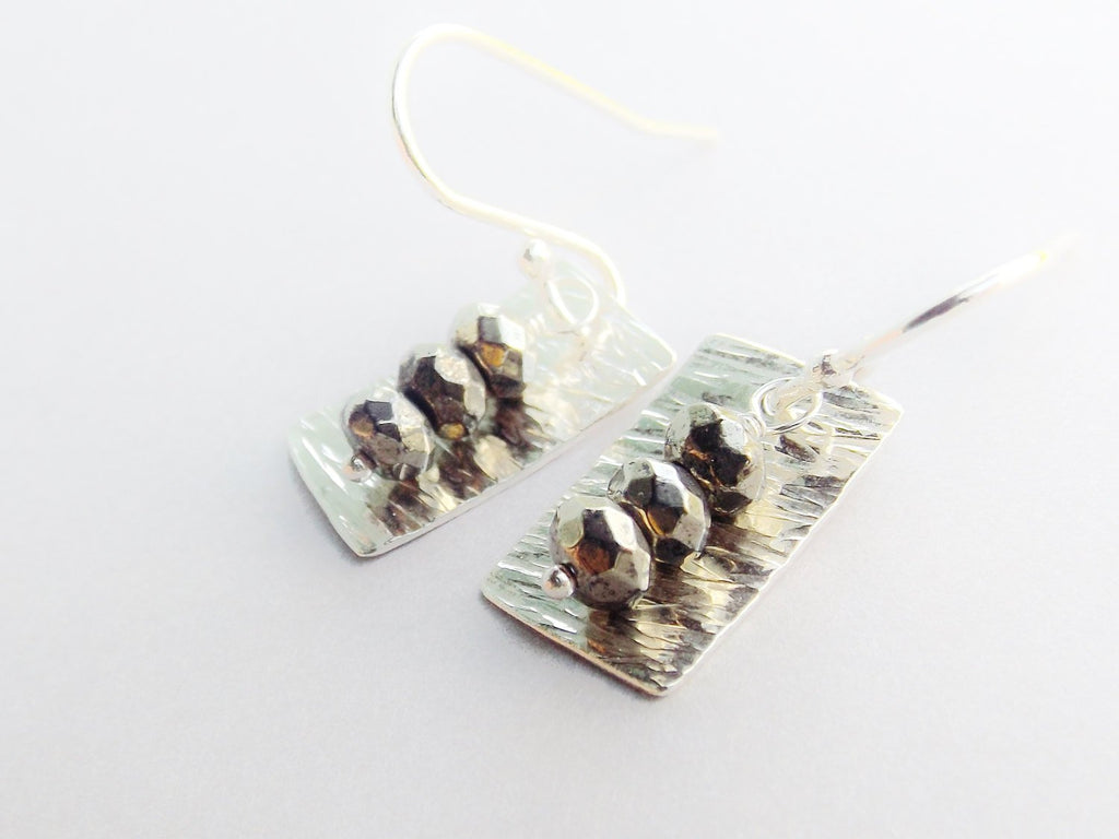 Pyrite Earrings, Sterling Silver Earrings, Textured Earrings, Modern Earrings, Dangle Earrings, BOHO Earrings,Sterling Silver